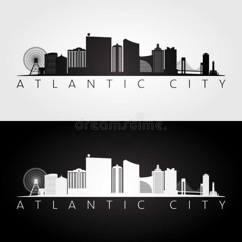 Skyline de Atlantic City, EUA e silhueta dos marcos ilustração do vetor
