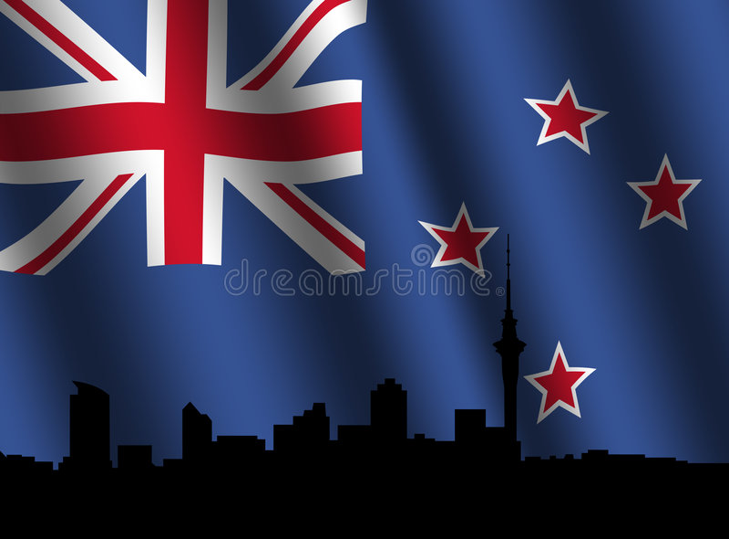 Skyline de Auckland com bandeira rippled ilustração do vetor