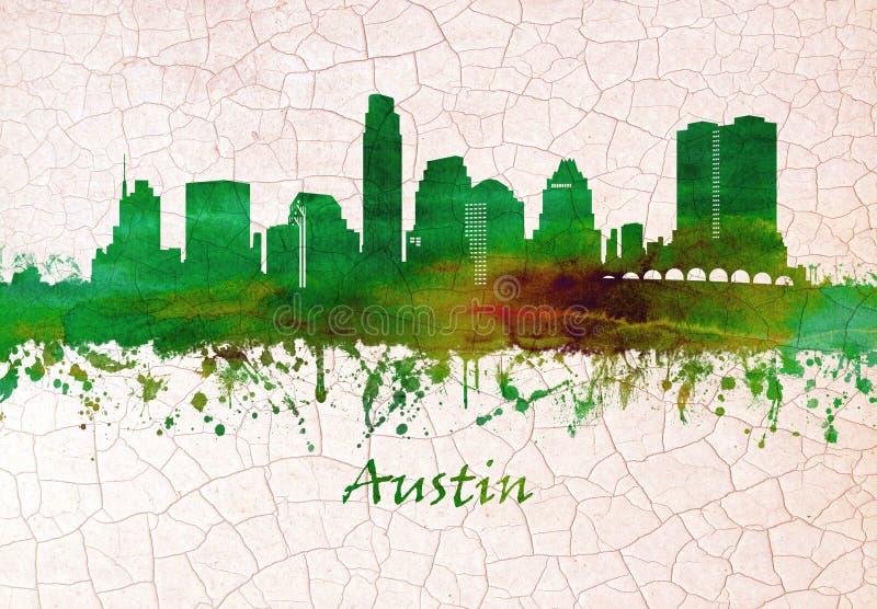 Skyline de Austin Texas ilustração royalty free