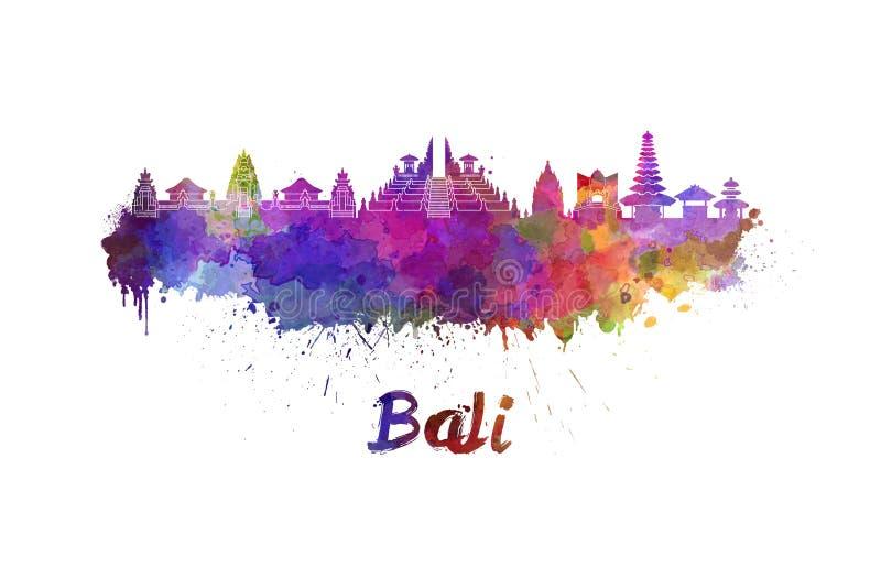 Skyline de Bali na aquarela ilustração royalty free