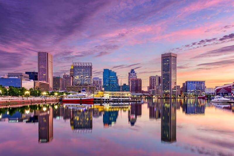 Skyline de Baltimore Maryland fotos de stock royalty free