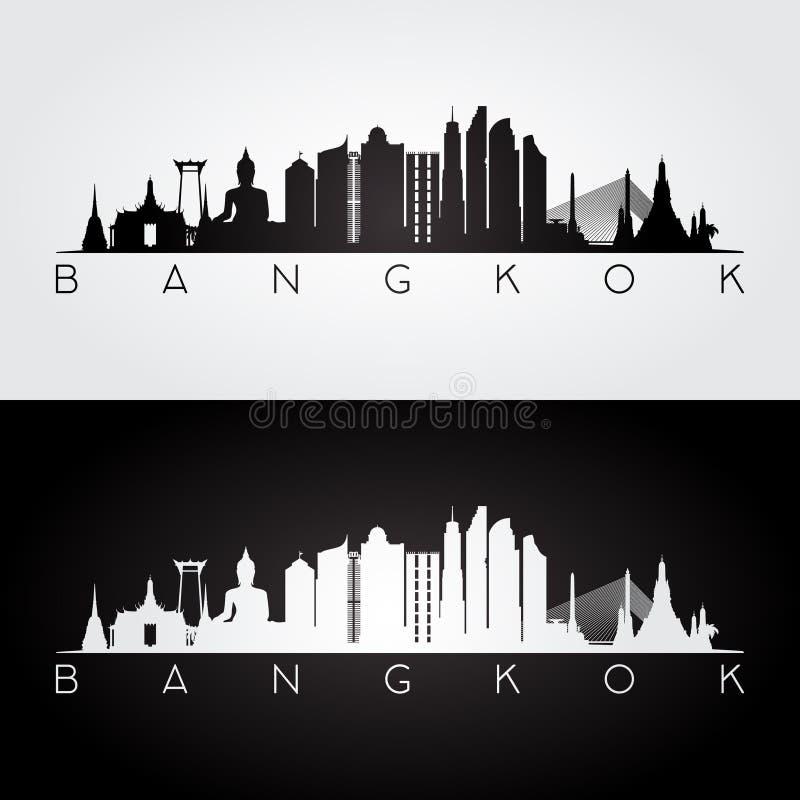 Skyline de Banguecoque e silhueta dos marcos