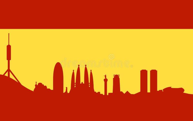 Skyline de Barcelona na bandeira espanhola