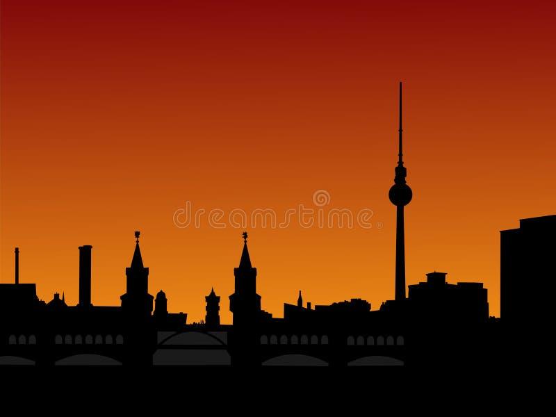 Skyline de Berlim no por do sol ilustração royalty free