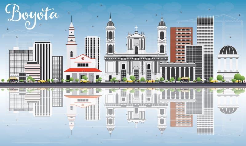 Skyline de Bogotá com Gray Buildings, o céu azul e as reflexões ilustração royalty free