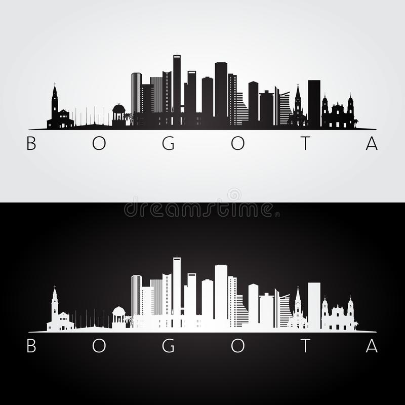 Skyline de Bogotá e silhueta dos marcos ilustração stock