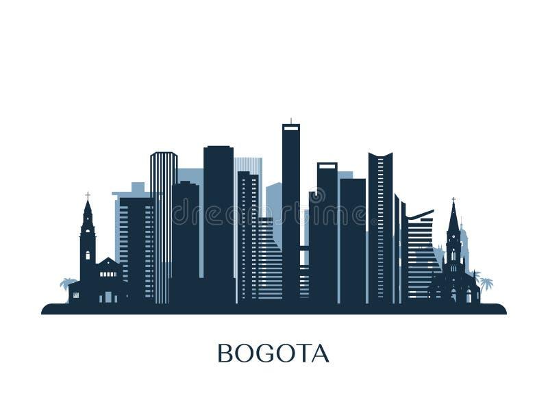 Skyline de Bogotá, silhueta monocromática ilustração royalty free