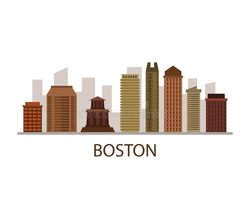 Skyline de Boston ilustração do vetor
