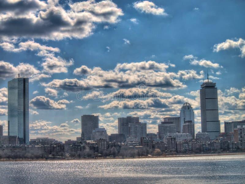 Skyline de Boston com Charles River imagem de stock royalty free