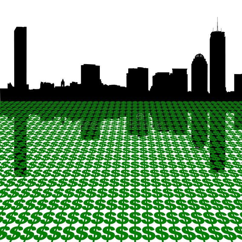 Skyline de Boston com dólares ilustração stock
