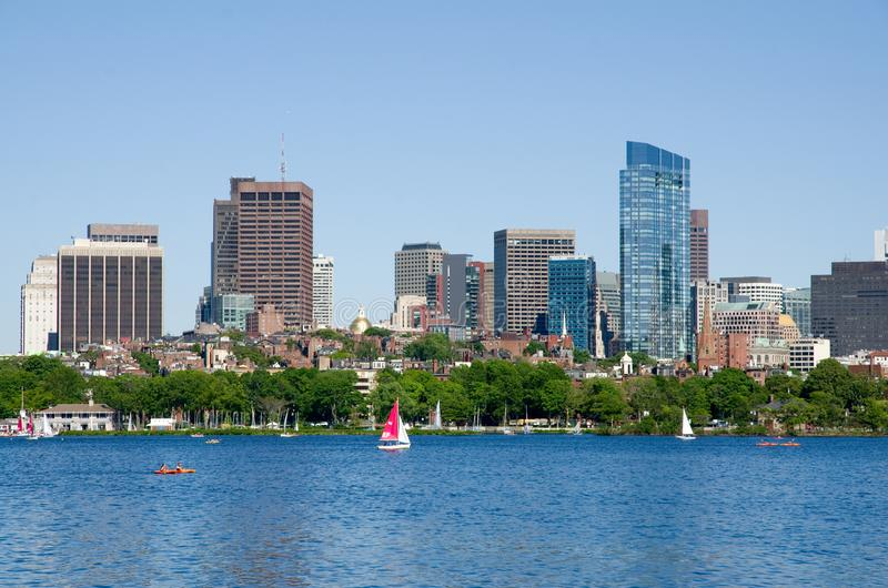 Skyline de Boston e Charles River, Massachusetts, EUA fotos de stock
