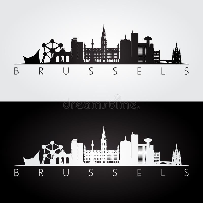 Skyline de Bruxelas e silhueta dos marcos ilustração stock
