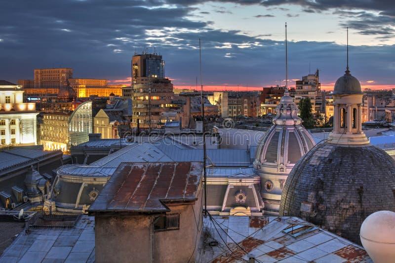 Skyline de Bucareste, Romênia fotografia de stock