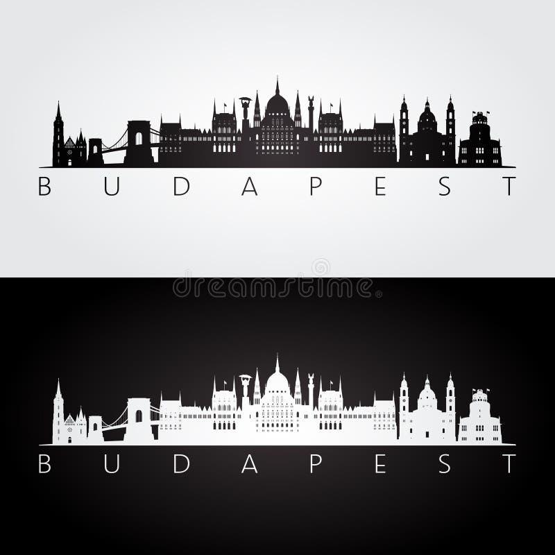 Skyline de Budapest e silhueta dos marcos ilustração do vetor