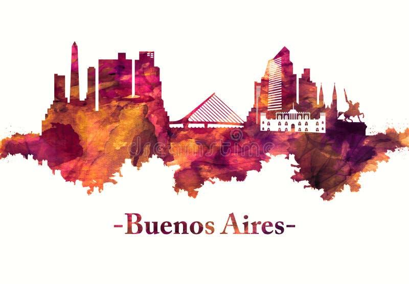 Skyline de Buenos Aires Argentina no vermelho ilustração do vetor