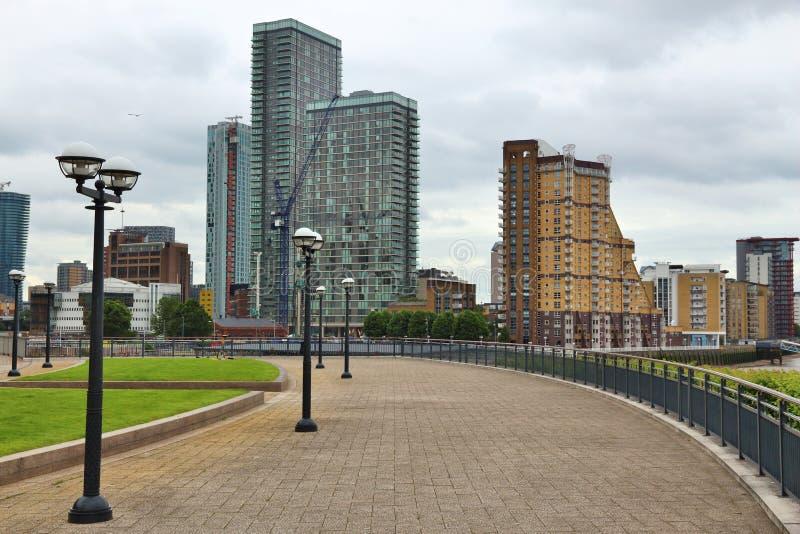 Skyline de Canary Wharf foto de stock royalty free