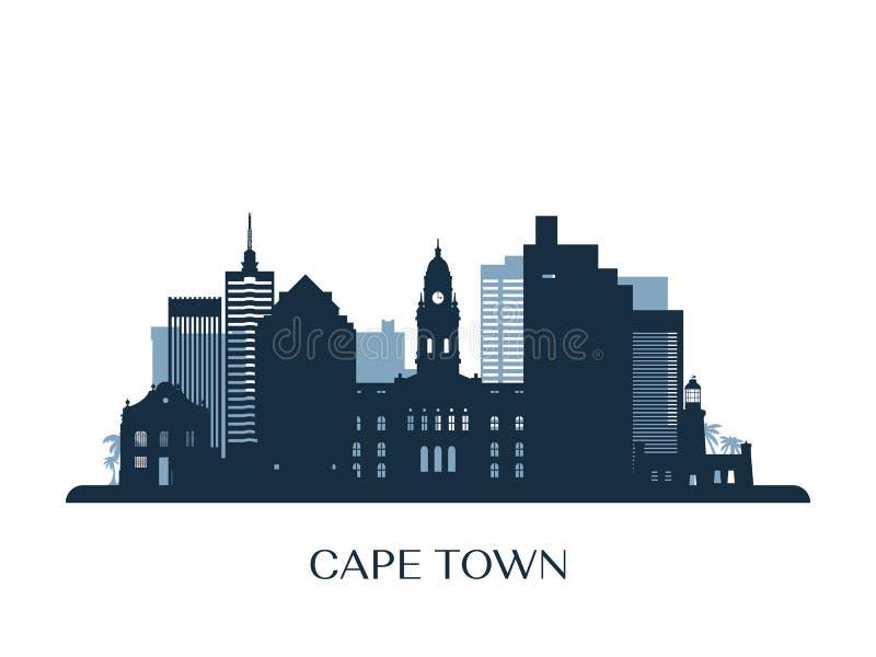 Skyline de Cape Town, silhueta monocromática ilustração royalty free