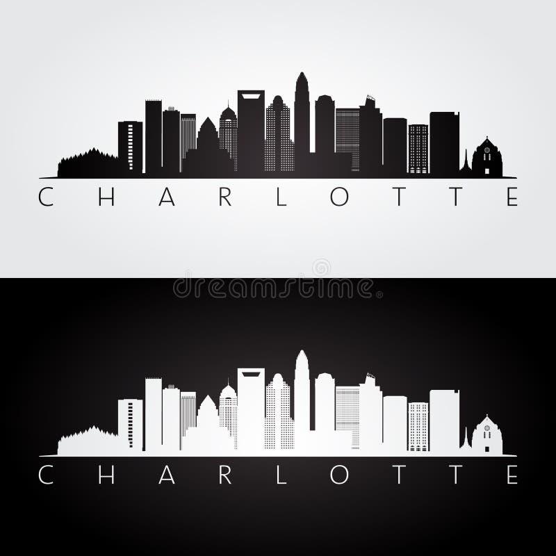 Skyline de Charlotte EUA e silhueta dos marcos ilustração royalty free