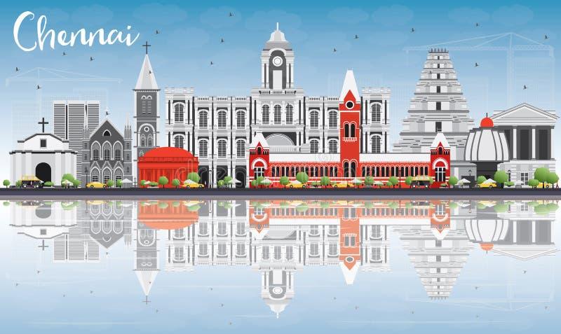 Skyline de Chennai com Gray Landmarks, o céu azul e as reflexões ilustração royalty free