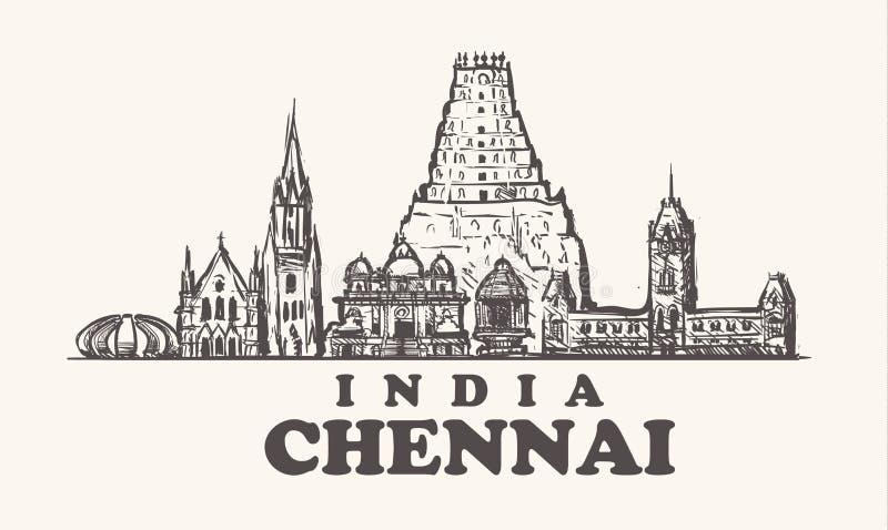 Skyline de Chennai, ilustração do vetor do vintage da Índia, templos tirados mão ilustração royalty free