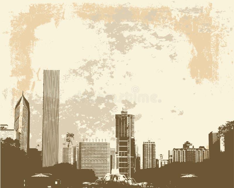 Skyline de Chicago ilustração royalty free