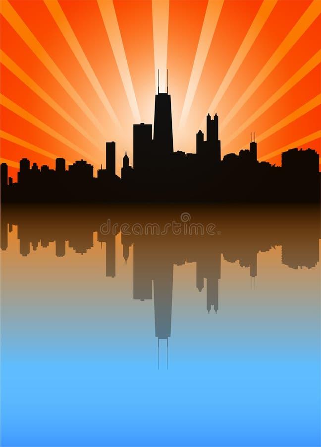 Skyline de Chicago ilustração stock