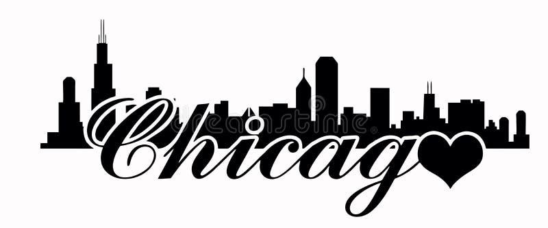 Skyline de Chicago - amor Chicago ilustração royalty free