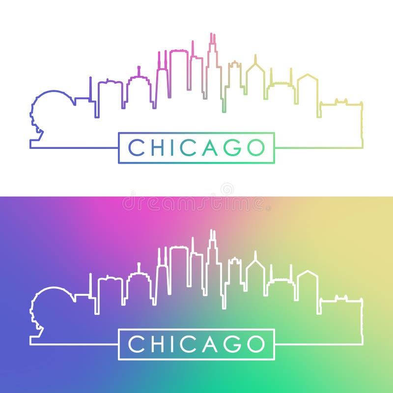 Skyline de Chicago Estilo linear colorido ilustração royalty free
