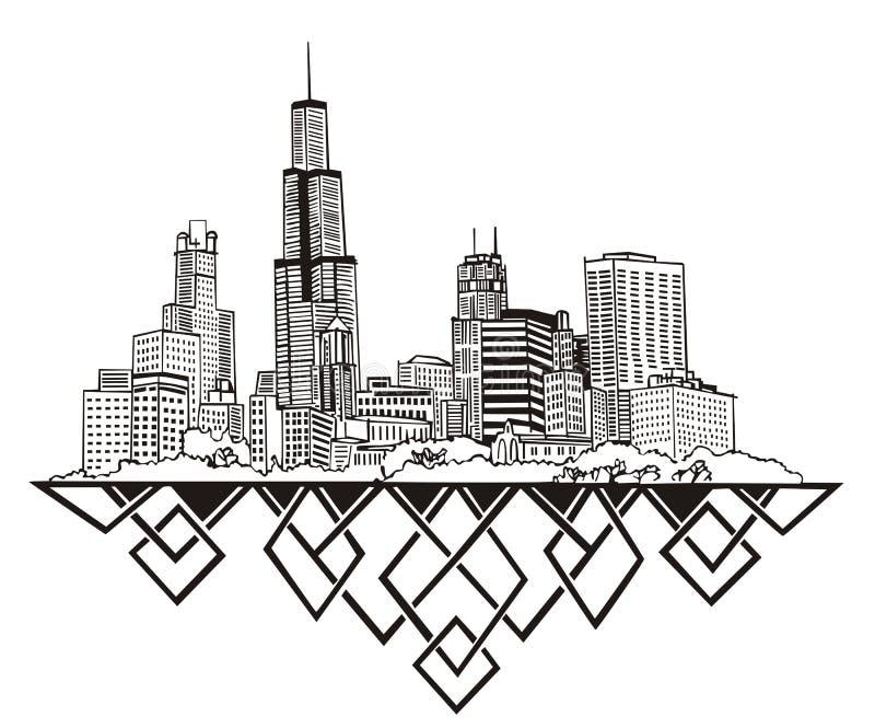 Skyline de Chicago, IL ilustração stock