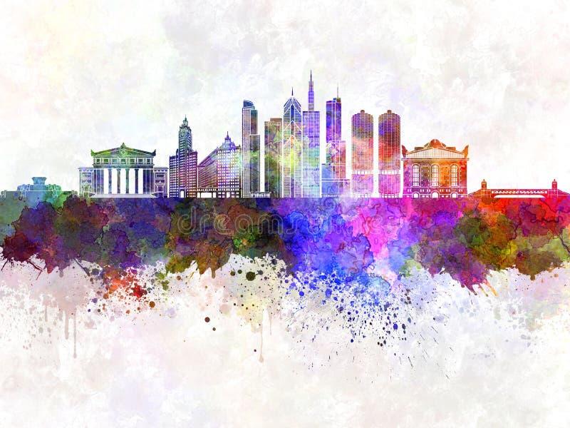 Skyline de Chicago no fundo da aquarela ilustração stock