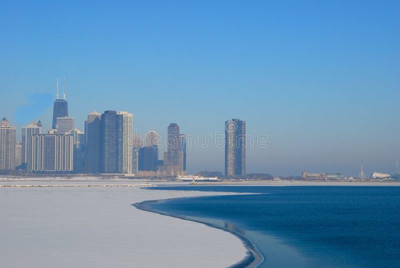 Skyline de Chicago no inverno fotos de stock