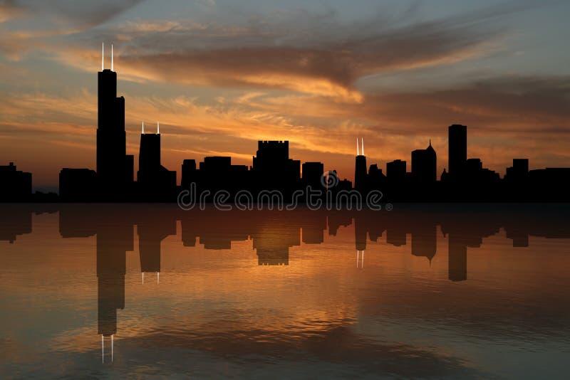 Skyline de Chicago no por do sol ilustração do vetor