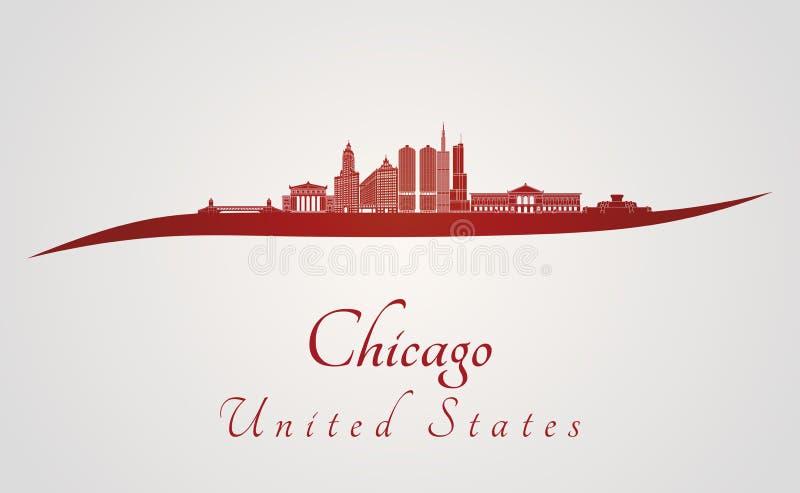 Skyline de Chicago no vermelho ilustração stock