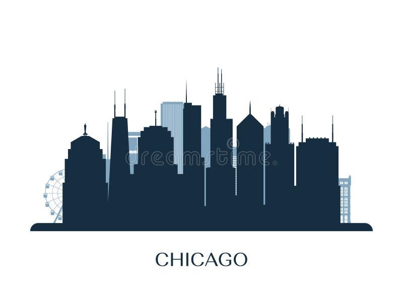 Skyline de Chicago, silhueta monocromática ilustração stock