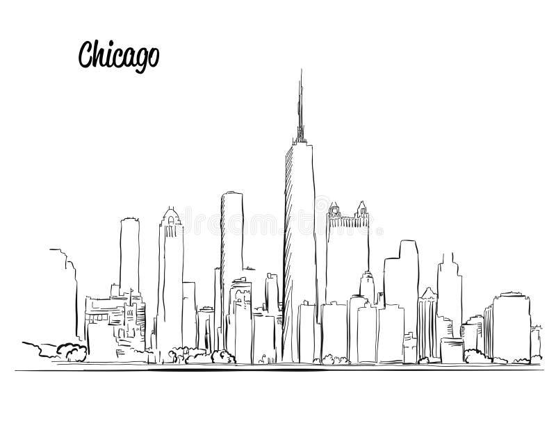 Skyline de Chicago, silhueta tirada mão ilustração do vetor