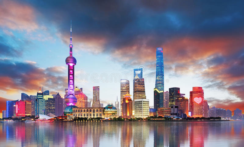 Skyline de China - de Shanghai fotografia de stock royalty free