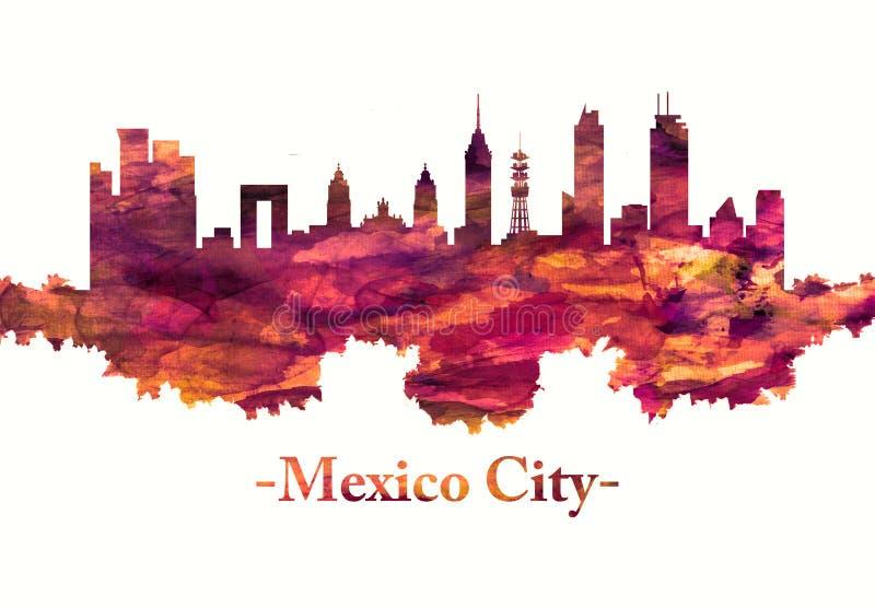 Skyline de Cidade do México México no vermelho ilustração do vetor