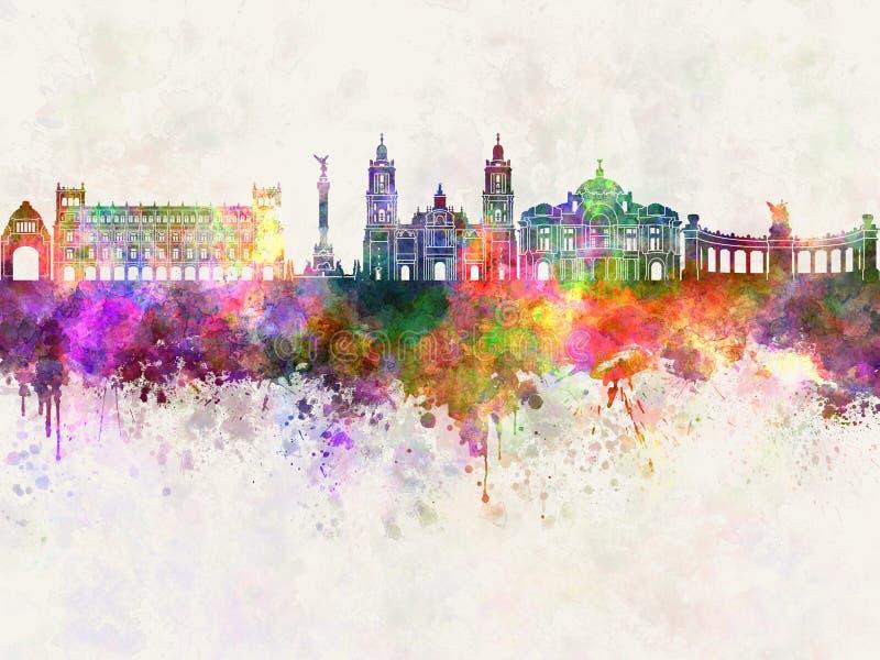 Skyline de Cidade do México V2 na aquarela ilustração stock