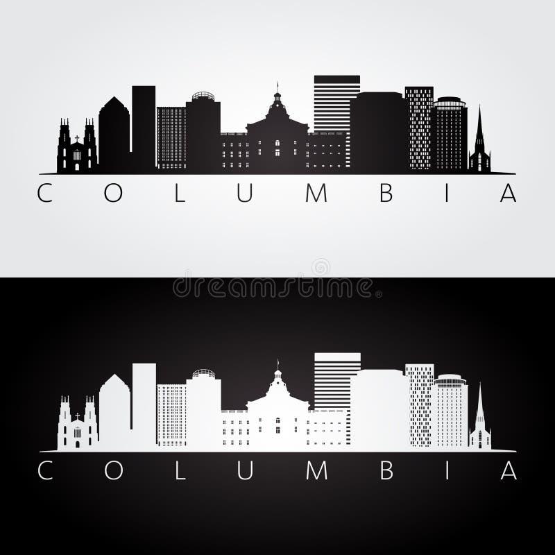Skyline de Colômbia EUA e silhueta dos marcos ilustração royalty free