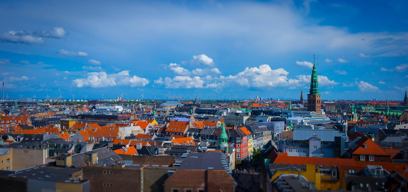 Skyline de Copenhaga imagens de stock