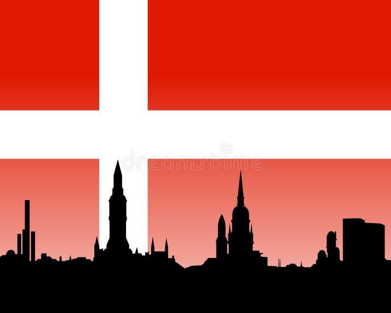Skyline de Copenhaga com bandeira ilustração stock