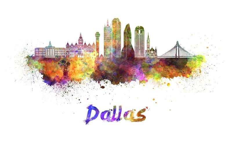 Skyline de Dallas na aquarela ilustração stock