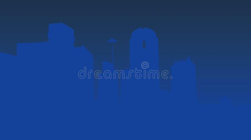 Skyline de Dallas no azul ilustração stock