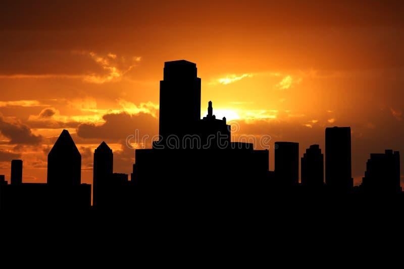 Skyline de Dallas no por do sol ilustração do vetor
