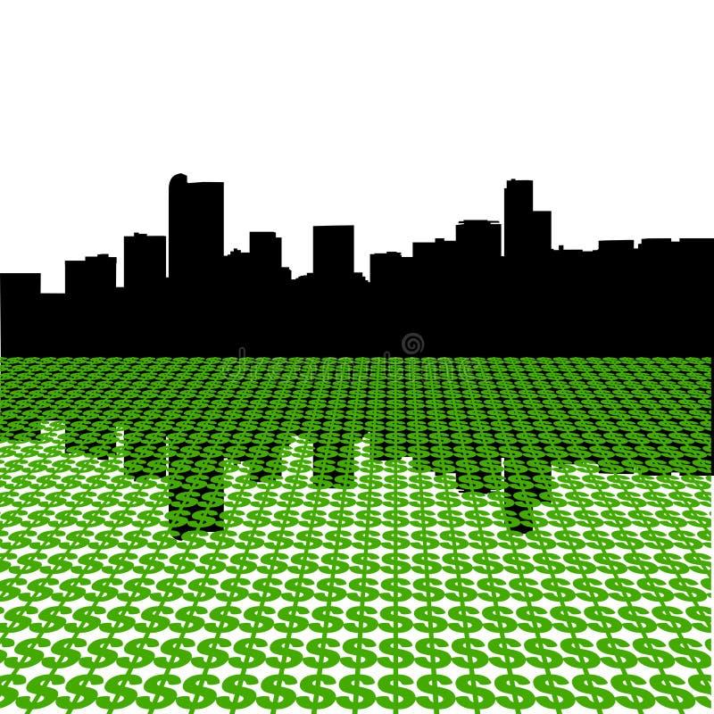 Skyline de Denver com dólares ilustração do vetor