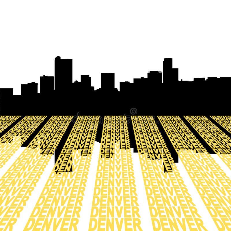 Skyline de Denver com texto ilustração do vetor