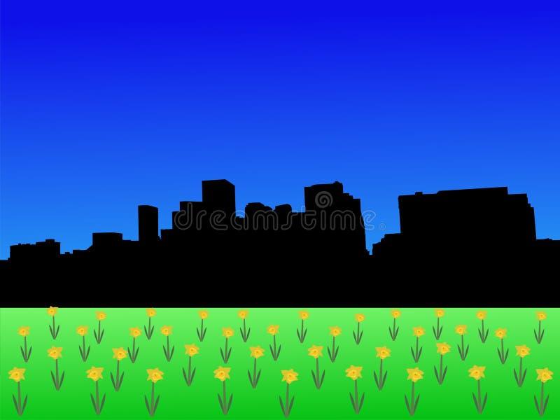 Skyline de Denver na mola ilustração do vetor