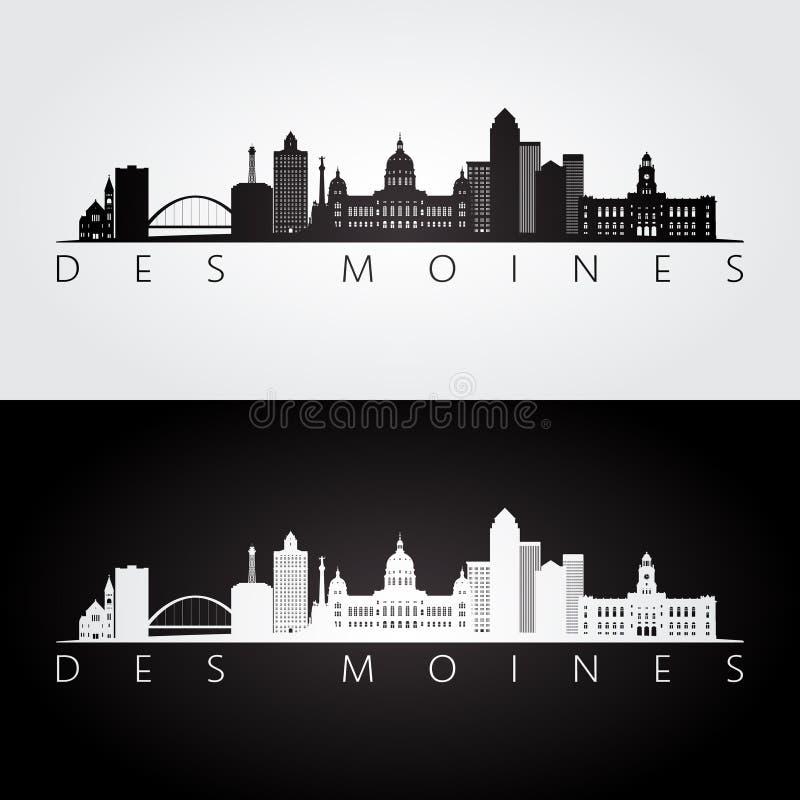 Skyline de Des Moines EUA e silhueta dos marcos ilustração royalty free