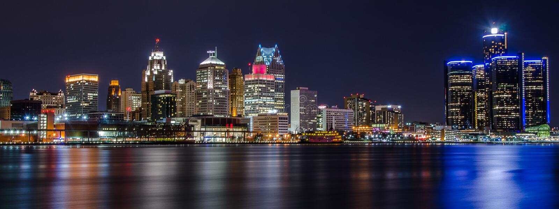 Skyline de Detroit fotografia de stock royalty free