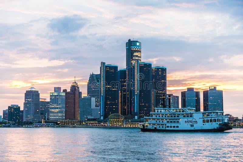 Skyline de Detroit foto de stock